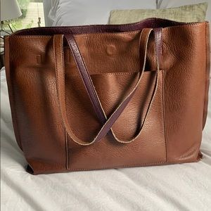Brown/purple reversible tote